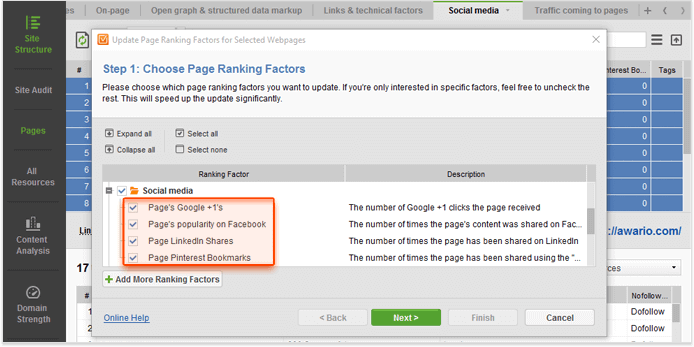 Check page popularity on social media using Website Auditor