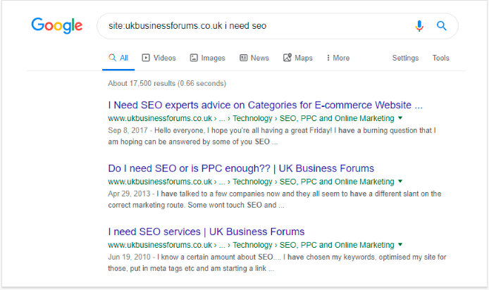 Searching pages of a website directly using Google