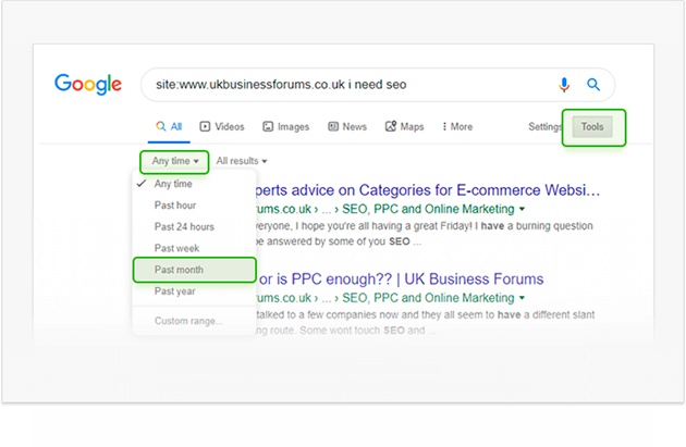 Using Google Search tools to sieve through results