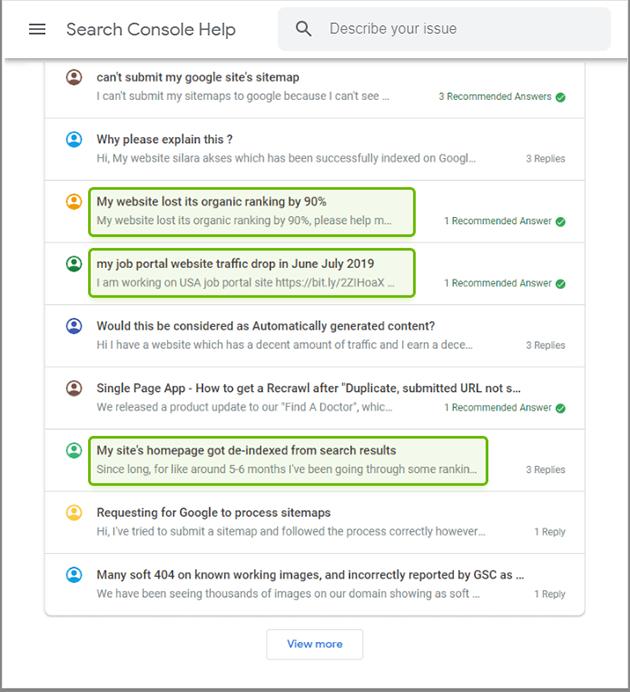 Using Google's webmaster help