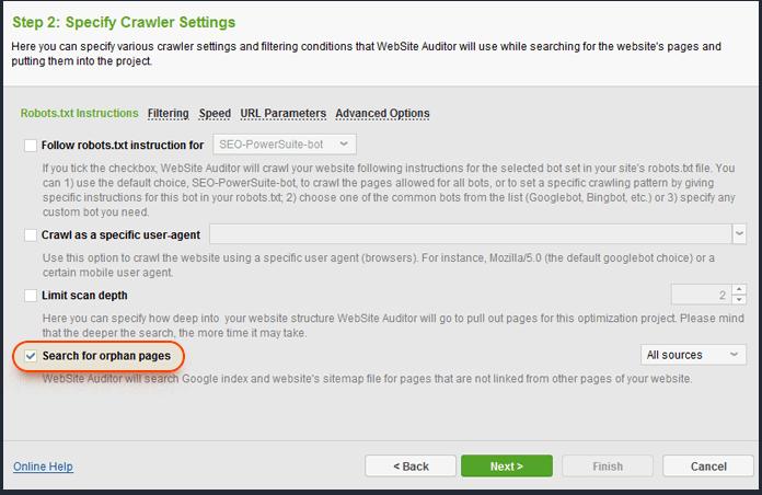 Customizing crawler settings