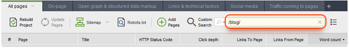 Filtering pages