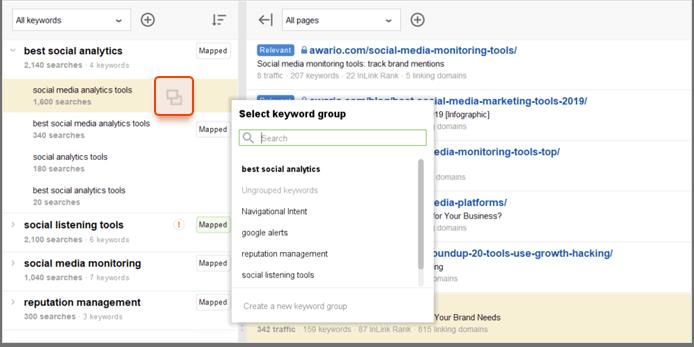 Keywords grouping