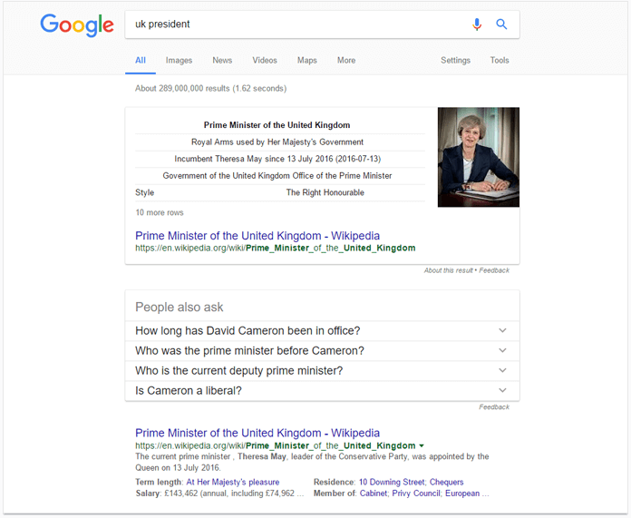 Rich results in Google