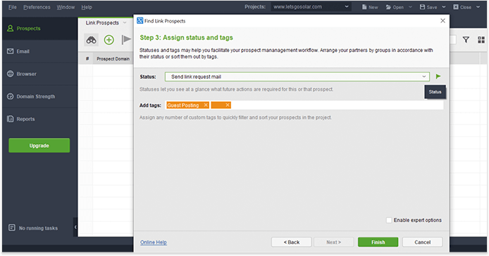 Use tags and status to manage your prospects