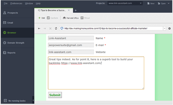 Send comments to forum without leaving the software