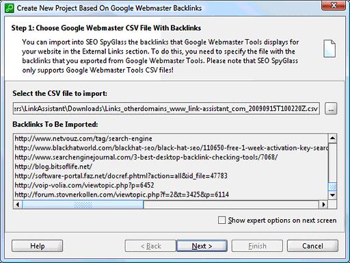 Import backlinks from Google Webmaster Tools