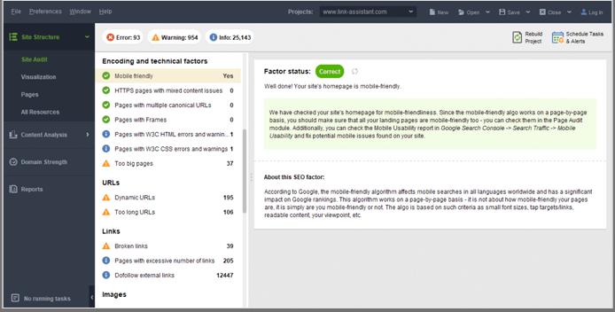 Mobile-friendliness test in WebSite Auditor