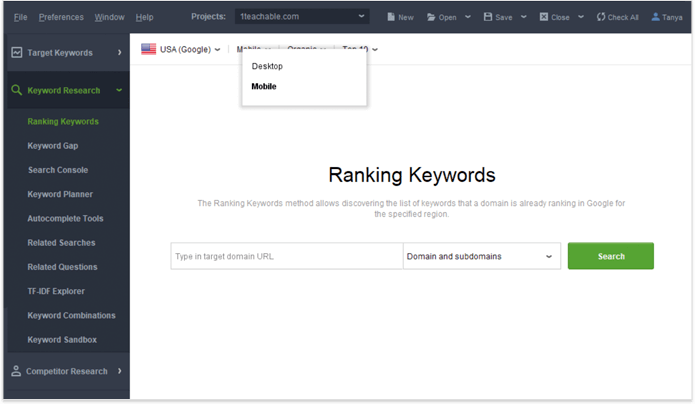 Check keyword rankings in mobile SERPs