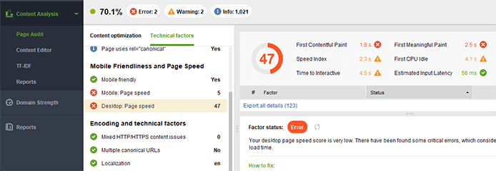 Checking for page speed issues in Website Auditor