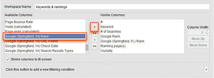Adjusting columns in Rank Tracker
