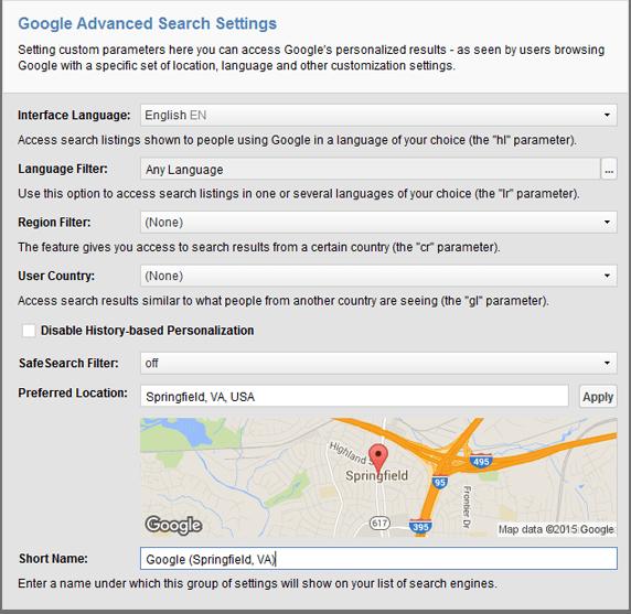 Choosing custom search location in Rank Tracker