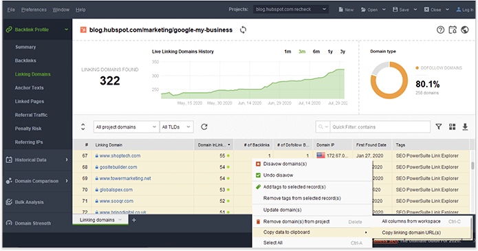Export the list of your link-building prospects