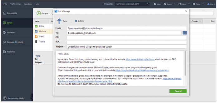 Send a personalized email by customizing one of outreach templates in LinkAssistant