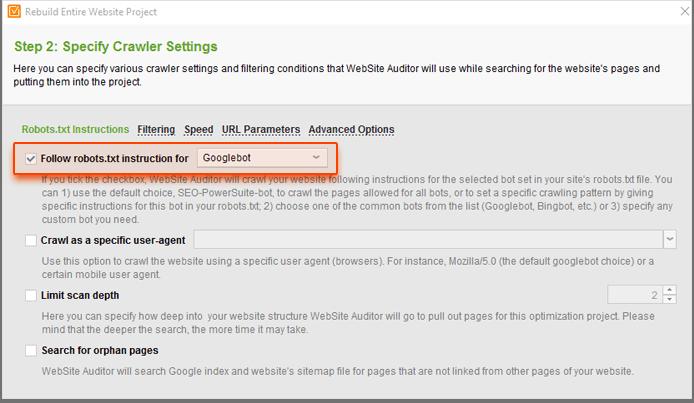 Modifying crawler settings