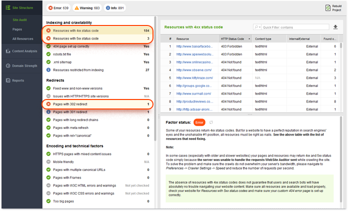 Checking website status codes using Website Auditor