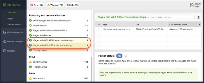 Checking CSS errors