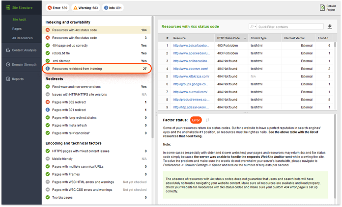 Checking for resources restricted from indexing
