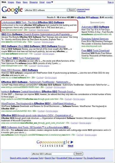 Google 'Effective SEO Software' Search Results