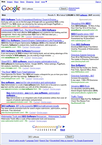 Google 'SEO Software' Search Results