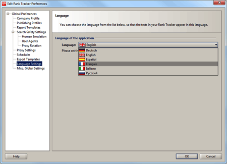 Selecting language for the software