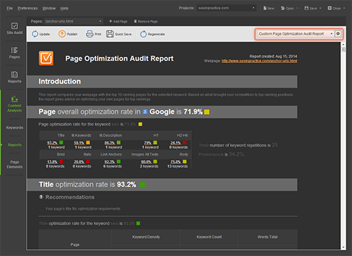 Quick customization of ready-made reports