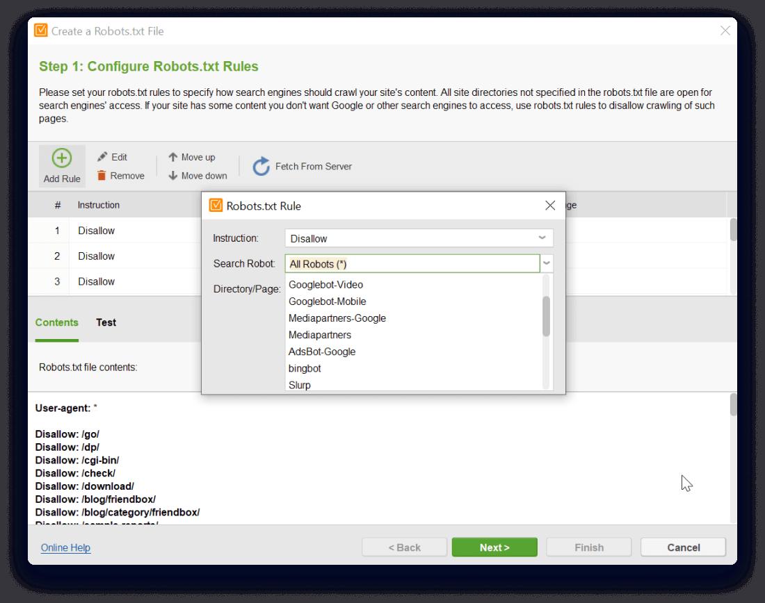 Specify user agent bot