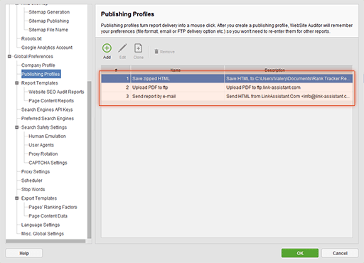 Exporting reports for printout, emailing and web publishing