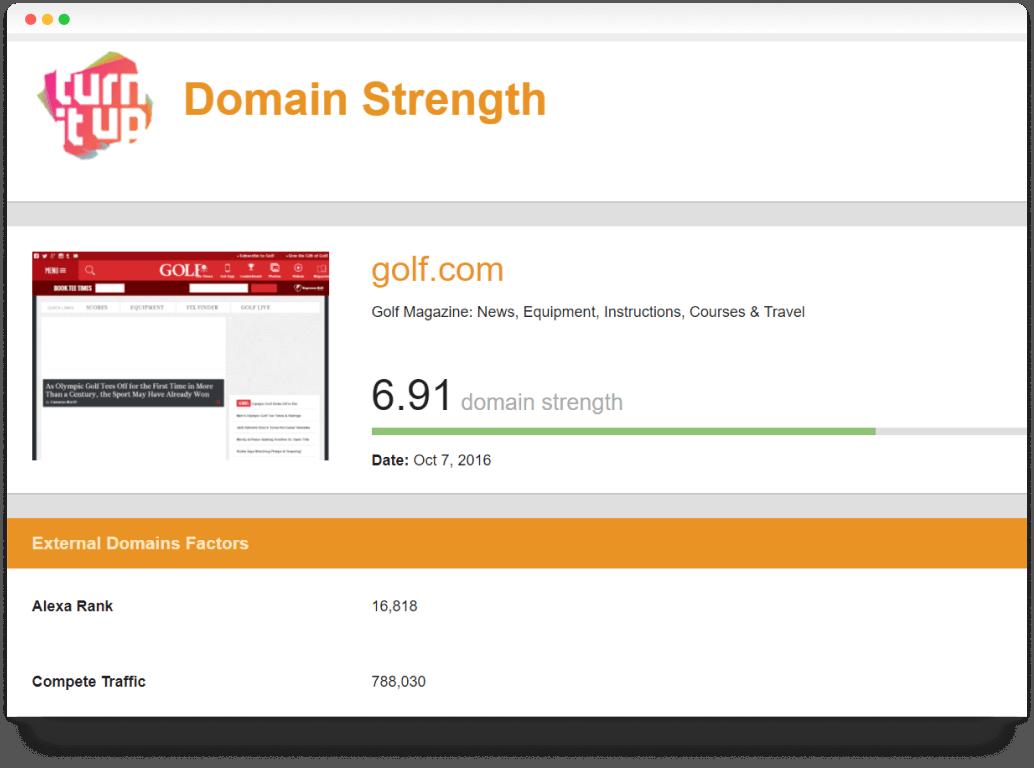 domain strength SEO report