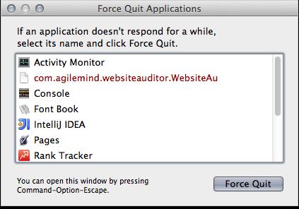 Force quit Rank Tracker using Apple menu