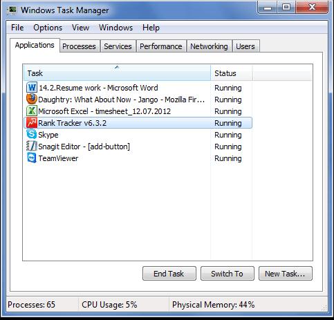 Close Rank Tracker through Windows Task Manager
