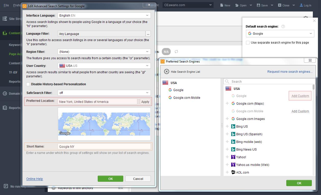 Add Custom search engine in WebSite Auditor