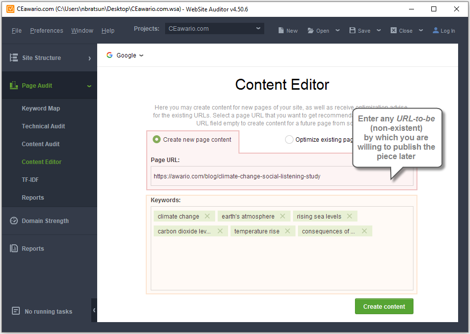 Create new page in Content Editor