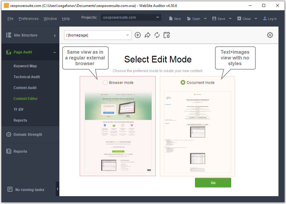 Choose Browser or Document editing mode