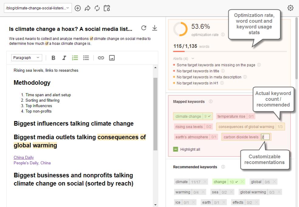 Quick optimization advice and keyword stats