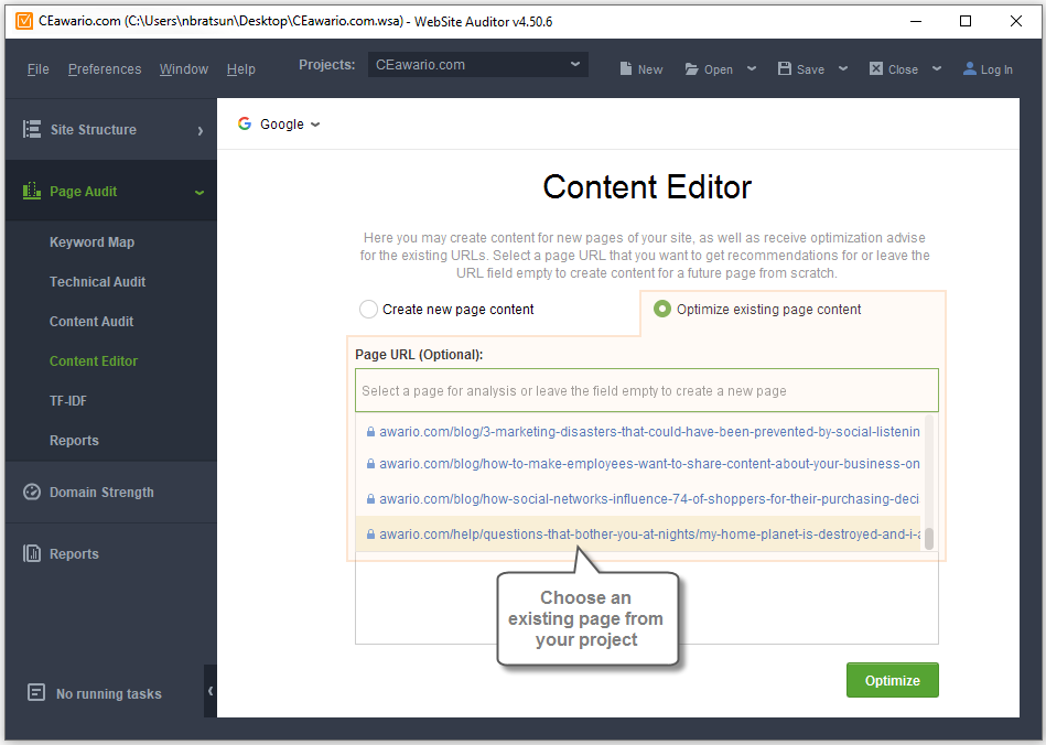 Optimize an existing page with Content Editor