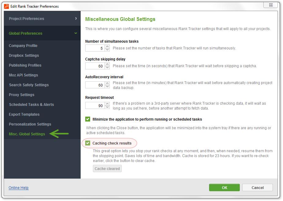 SEO PowerSuite apps Cache feature