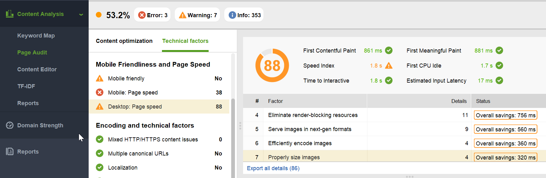 Page speed audit in Website Auditor