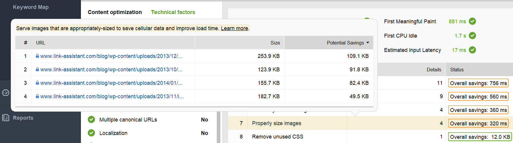 List of URLs that need optimization