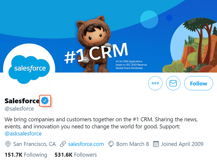 Verified social account on Twitter