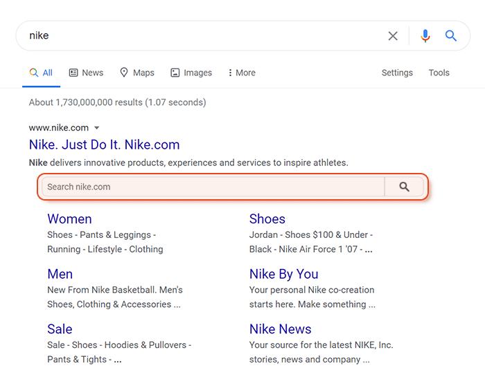 Sitelinks search box bar