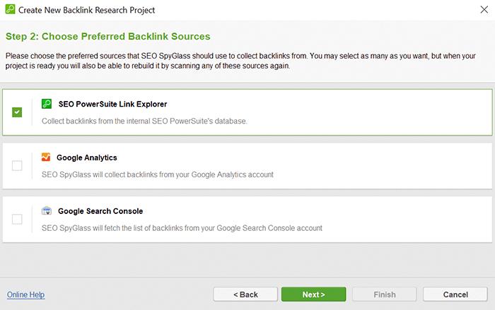 Choose the preferred backlink source