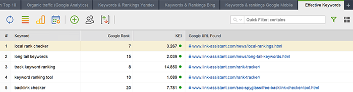Selected keywords are quick to rank up in organic search