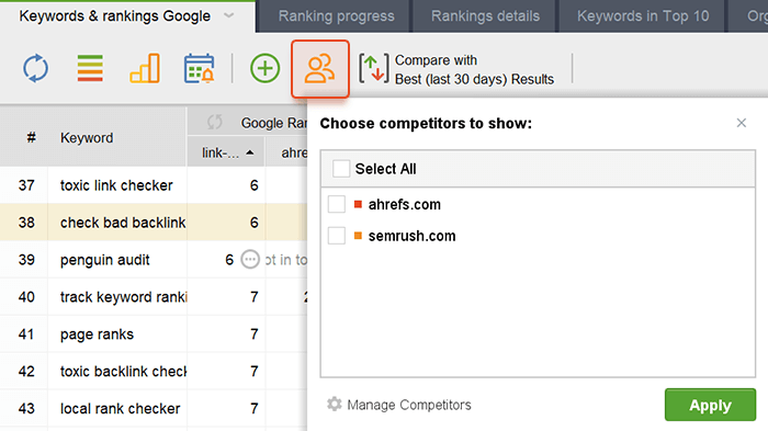 Show or hide competitors from your workspace