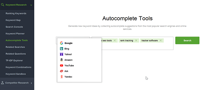Try one by one each method in Keyword Research module