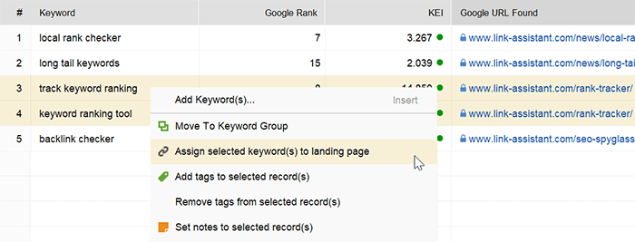 Match keywords to their landing pages in Keyword Mapping module