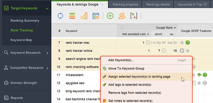 Match keywords to the landing pages optimized for them