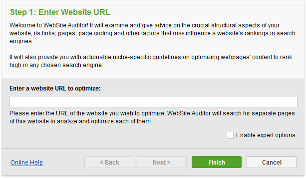 Create a project in WebSite Auditor