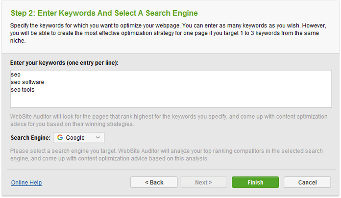 Add your target keywords to site auditor