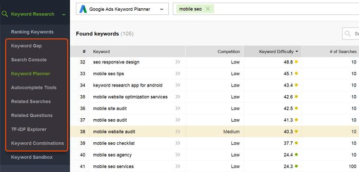 Keyword Research methods in Rank Tracker
